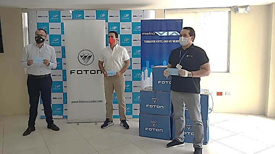 Donación de 10.000 mascarillas a Fundación Metrovía en Guayaquil
